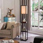 QIANGUANG® Lampadaire en bois de 1,6 m avec étagères pour chambre et salon (sans ampoule) (Black) de la marque QIANGUANG image 1 produit