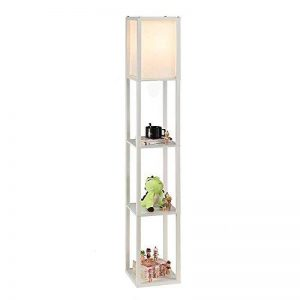 QIANGUANG® Lampadaire en bois de 1,6 m avec étagères pour chambre et salon (sans ampoule) (White) de la marque QIANGUANG image 0 produit