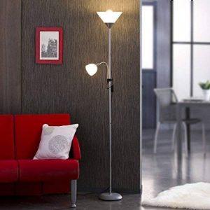 Quai 56 BASIC - Lampadaire métal gris 177cm avec liseuse - 1x E27 + 1x E14 - Réflecteurs blancs de la marque Quai 56 image 0 produit