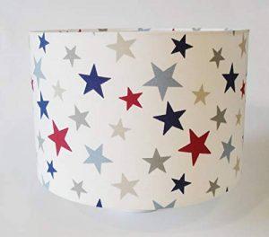 Raw Design Abat-jour en tissu Motif à étoiles Rouge/bleu/gris Grand format de la marque Raw Design image 0 produit