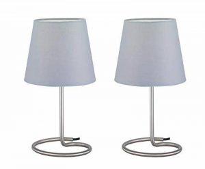 Reality, Lampe de table, Twin 2xE14, max.40,0 W Tissu, Gris, Corps: metal, Nickel mat Ø:18,0cm, H:33,0cm IP20,Interrupteur de cordon de la marque Reality image 0 produit