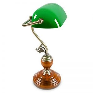 Relaxdays-10016607 Lampe de Bureau Banquier avec Abat-Jour en Verre Vert de la marque Relaxdays image 0 produit