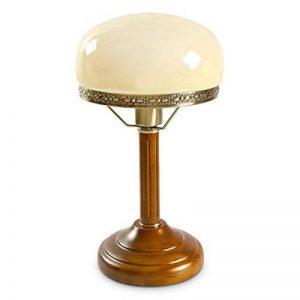 Relaxdays-10016611 Lampe de Bureau Banquier avec Abat-Jour en Verre E 27, beige de la marque Relaxdays image 0 produit