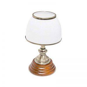 Relaxdays 10018911 Luminaire Déco petite Lampe de Table Abat-Jour en Verre Blanc Socle en Bois Véritable HxlxP: 37 x 30 x 20,5 cm style ancien vintage de la marque Relaxdays image 0 produit