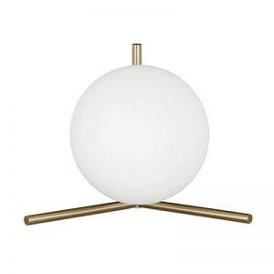 Relaxdays 10020668 Lampe de table laiton GLOBI forme ronde boule en verre design moderne métal HxlxP: 25 x 33 x 22 cm- mat de la marque Relaxdays image 0 produit