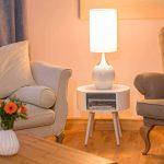 Relaxdays Lampe de chevet forme ovale REEVA lampe de table chambre salon bureau grand abat-jour tissu HxlxP: 67 x 23 x 23 cm, blanc de la marque Relaxdays image 1 produit
