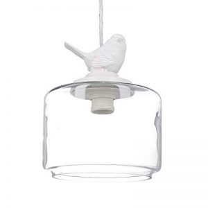 Relaxdays Lampe de plafond luminaire lampe à suspension abat-jour verre oiseau design retro déco vintage, transparent de la marque Relaxdays image 0 produit