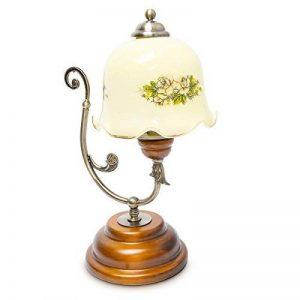 Relaxdays Lampe de Table Design Vintage Rétro Bois Métal laiton 40 W E27 abat-jour en verre avec motifs fleurs de la marque Relaxdays image 0 produit