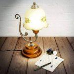 Relaxdays Lampe de Table Design Vintage Rétro Bois Métal laiton 40 W E27 abat-jour en verre avec motifs fleurs de la marque Relaxdays image 1 produit