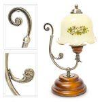 Relaxdays Lampe de Table Design Vintage Rétro Bois Métal laiton 40 W E27 abat-jour en verre avec motifs fleurs de la marque Relaxdays image 3 produit