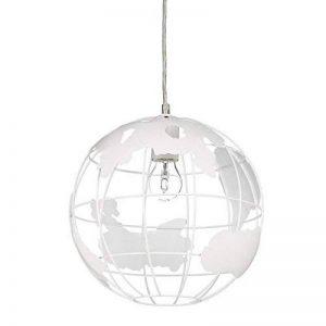 Relaxdays Lampe à suspension abat-jour boule globe monde métal luminaire plafond Ø 30 cm, blanc de la marque Relaxdays image 0 produit