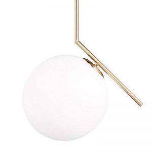 Relaxdays Lampe à suspension abat-jour rond globe en laiton métal luminaire GLOBI design retro HxlxP: 75 x 45 x 30 cm, matt de la marque Relaxdays image 0 produit