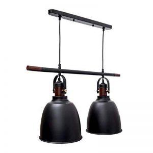 Relaxdays Lampe à suspension deux ampoules abat-jour Dimensions H x L x P 116 x 81 x 24 cm Luminaire hauteur réglable métal et bois décoration intérieure noir de la marque Relaxdays image 0 produit