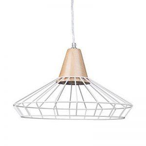 Relaxdays Lampe à suspension GRID optique cage grille design retro métal et bois lampe de plafond luminaire HxlxP: 110 x 40 x 40 cm, blanc de la marque Relaxdays image 0 produit
