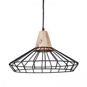 Relaxdays Lampe à suspension GRID optique cage grille design retro métal et bois lampe de plafond luminaire HxlxP: 110 x 40 x 40 cm, noir de la marque Relaxdays image 0 produit