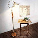 Relaxdays Luminaire lampadaire Design Art Nouveau lampe sur pied abat-jour fer optique laiton avec Hauteur Réglable socle en Bois Massif style industriel de la marque Relaxdays image 1 produit