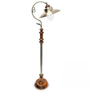 Relaxdays Luminaire lampadaire Design Art Nouveau lampe sur pied abat-jour fer optique laiton avec Hauteur Réglable socle en Bois Massif style industriel de la marque Relaxdays image 0 produit