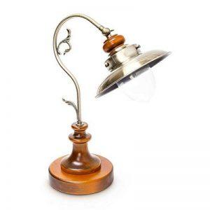 Relaxdays Luminaire lampe de Table Antique Design Industriel Bois Massif et abat-jour Aspect Laiton bureau chevet steampunk de la marque Relaxdays image 0 produit