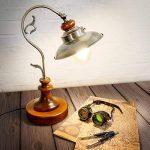 Relaxdays Luminaire lampe de Table Antique Design Industriel Bois Massif et abat-jour Aspect Laiton bureau chevet steampunk de la marque Relaxdays image 1 produit