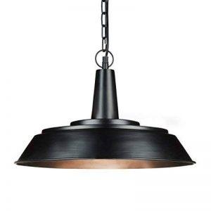 Relaxdays Luminaire lampe à suspensions abat-jour plat et rond métal noir mat intérieur bronze chaîne de suspension métal noire douille E27 40W HxlxP:133 x 41 x 41 cm, noir de la marque Relaxdays image 0 produit