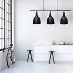 Relaxdays Luminaire Suspension GLOCCA Lampe de Plafond avec 3 Ampoules H x l x P 134 x 24 x 24 cm Hauteur réglable Abat-Jour en Forme de Cloche en métal Noir de la marque Relaxdays image 1 produit