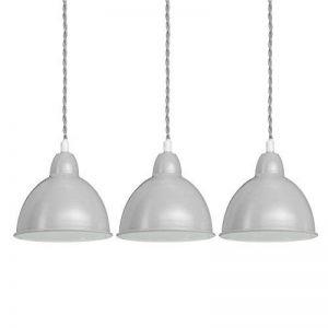 Relaxdays Luminaire suspension lampe de plafond 3 ampoules abat-jour forme de cloche métal HxlxP: 125x50x15 cm, gris de la marque Relaxdays image 0 produit