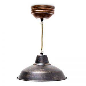 Relaxdays Luminaire Suspension lampe de plafond Plafonnier de style industriel abat-jour métal effet lation et socle en bois hauteur réglable de la marque Relaxdays image 0 produit