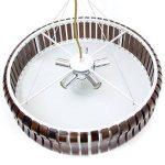 Relaxdays Luminaire suspension lampe de plafond RINC Plafonnier avec 5 ampoules abat-jour bois et métal H 14 cm diamètre 45 cm marron foncé de la marque Relaxdays image 3 produit
