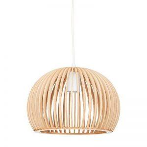 Relaxdays Luminaire suspension lampe plafond abat-jour en forme de boule cage bois HxlxP: 129 x 30 x 30 cm, nature-blanc de la marque Relaxdays image 0 produit