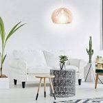 Relaxdays Luminaire suspension lampe plafond abat-jour en forme de boule cage bois HxlxP: 129 x 30 x 30 cm, nature-blanc de la marque Relaxdays image 1 produit