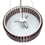 Relaxdays Plafonnier RINC Lampe de plafond Lustre abat-jour en bois rond 3 ampoules H 14cm diamètre 54cm marron foncé de la marque Relaxdays image 4 produit