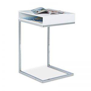 Relaxdays Table basse HxlxP: 61 x 37 x 38 cm table console table d'appoint canapé salon table ordinateur compartiment journaux pieds en métal, blanc de la marque Relaxdays image 0 produit