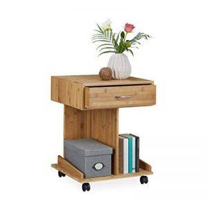 Relaxdays Table Console à roulettes ROLLI Table d'appoint tiroir 2 Compartiments Bambou HxlxP: 56,5 x 43 x 46 cm, Nature de la marque Relaxdays image 0 produit