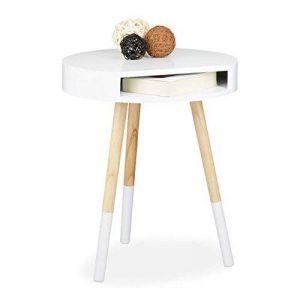 Relaxdays Table d'appoint bois blanc ronde avec ouverture table console blanche salon table de chevet HxlxP: 48 x 40 x 40 cm, blanc de la marque Relaxdays image 0 produit