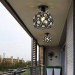 Ronde Plafonnier, LED cristal balcon restaurant salle de cristal lustre escalier personnalité créatrice allée couloir entrée chambre plafonniers (Style : 20cm black ceiling) de la marque DYX image 4 produit