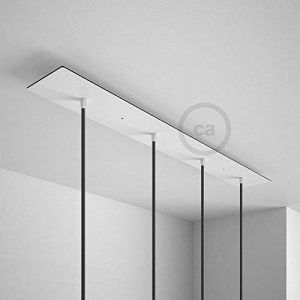 Rosace XXL rectangulaire 90x12cm à 4 trous blanche avec les accessoires. de la marque Creative-Cables image 0 produit