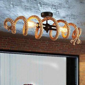Rétro Corde au chanvre Le fer Plafonnier Lustre Art Nostalgie Industrie Vague Spirale Conception Noir Le fer Fixation pour Île de cuisine Salle à manger Restaurant Bar, E27 * 2 Ampoule Edison de la marque YAYA-LIGHT image 0 produit
