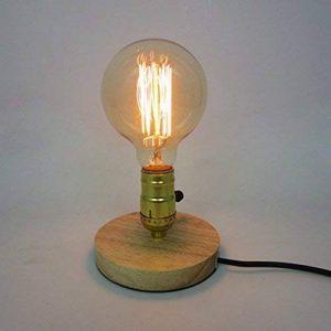 Rétro Industrielle Edison Lampe de Table en Bois Culot E27 Lampe de Bureau pour Chevet Salon Chambre Décoration - Beige / Couleur Originale de la marque AZX image 0 produit