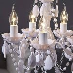 """Rétro lustre en acrylique """"POMP""""   Ø 40 cm, blanc, 5 tambours branches   suspension style baroque de la marque DESIGN DELIGHTS image 1 produit"""