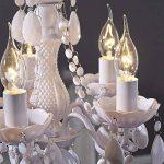 """Rétro lustre en acrylique """"POMP""""   Ø 40 cm, blanc, 5 tambours branches   suspension style baroque de la marque DESIGN DELIGHTS image 2 produit"""
