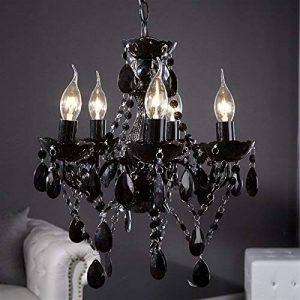 """Rétro lustre en acrylique """"POMP""""   Ø 40 cm, noir, 5 tambours branches   suspension style baroque de la marque DESIGN DELIGHTS image 0 produit"""