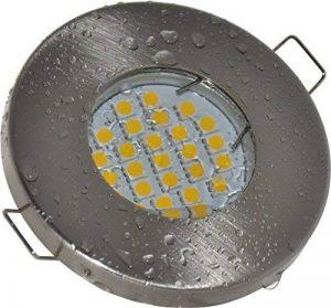 Salle de bain Spot IP65| couleur acier inoxydable brossé | 12V GU5.3MR1612V AC/DC 5W LED blanc chaud 2700K 450lumens | Douille de lampe avec câble de raccordement inclus de la marque Del image 0 produit