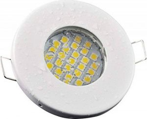 Salle de bain Spot IP65| couleur acier inoxydable brossé | 12V GU5.3MR16AC/DC 5W LED blanc chaud 2700K 450lumens | Douille de lampe avec câble de raccordement inclus de la marque Del image 0 produit