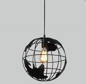Sanlise - Globe Lustre fer forge Suspension Chambre Applique d'Eclairage plafonnier salle de lecture Modern industrielle pour Restaurant Terrasse Salon Diamètre 30cm avec ampoule de la marque Sanlise image 0 produit