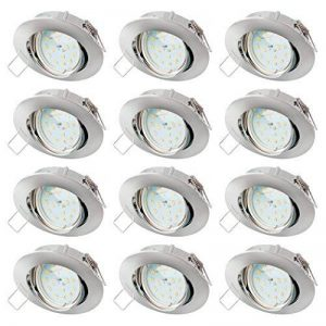 sebson 12x Spot encastrable Type 12 INCL. 5W Ampoules 230V LED Module Ra95 Flicker Free, Blanc Chaud 3000K, Downlight orientable alu Chrome ø83x21mm de la marque sebson image 0 produit