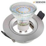 SEBSON® 6x Spot encastrable type 6 incl. Ampoules LED GU10 3.5W (remplace 30W), Blanc chaud, 300lm, 110° de la marque sebson image 1 produit