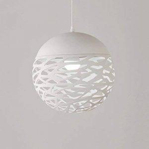 Simple LED fer pendentif lumière, style européen noir / blanc creux petit plafond lampe moderne chambre minimaliste salon étude lustres créatif fer restaurant bar magasin de vêtements lustre ( Color : White-S ) de la marque ZZW image 0 produit