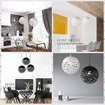 Simple LED fer pendentif lumière, style européen noir / blanc creux petit plafond lampe moderne chambre minimaliste salon étude lustres créatif fer restaurant bar magasin de vêtements lustre ( Color : White-S ) de la marque ZZW image 1 produit