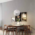 Simple LED fer pendentif lumière, style européen noir / blanc creux petit plafond lampe moderne chambre minimaliste salon étude lustres créatif fer restaurant bar magasin de vêtements lustre ( Color : White-S ) de la marque ZZW image 3 produit