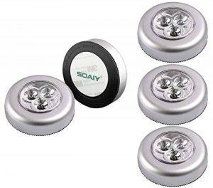 SOAIY Lot de 5 Spot Lampe LED Éclairage de Nuit Autocollant Alimenté par 3 Piles/Batteries pour Penderie/Placard/Étagère/Entrée/Cuisine/Passage de la marque SOAIY image 0 produit
